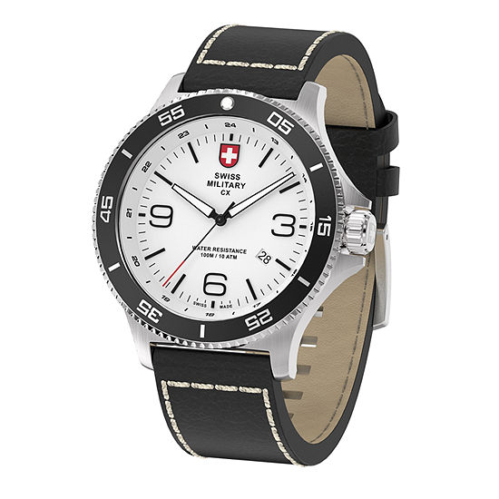 Swiss Military By Charmex Infantry Mens Black Leather Strap Watch-78344_5_E
