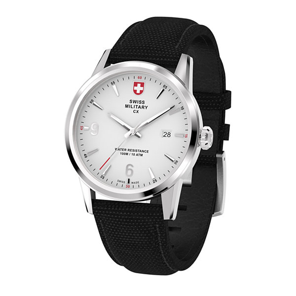 Swiss Military By Charmex Officer Mens Black Strap Watch-78346_4_B