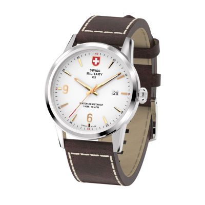 Swiss Military By Charmex Officer Mens Brown Strap Watch-78346_4_C