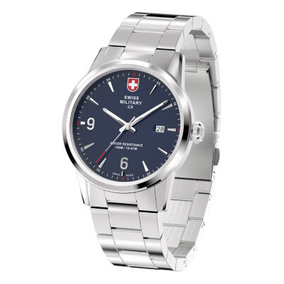 Swiss Military By Charmex Officer Mens Silver Tone Bracelet Watch-78346_4_D