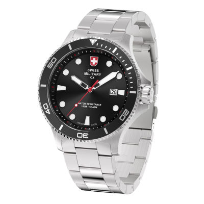 Swiss Military By Charmex Diving Mens Silver Tone Bracelet Watch-79292_9_B