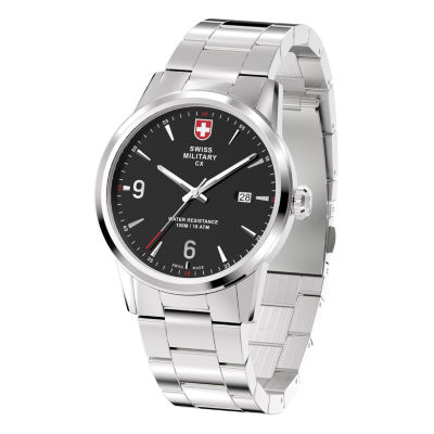 Swiss Military By Charmex Officer Mens Silver Tone Bracelet Watch-78346_4_E