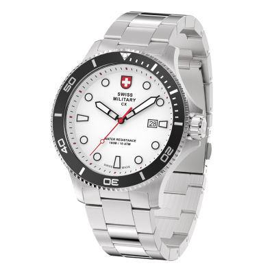 Swiss Military By Charmex Diving Mens Silver Tone Bracelet Watch-79292_9_C