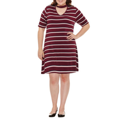 Arizona Short Sleeve Stripe Fit & Flare Dress-Juniors Plus