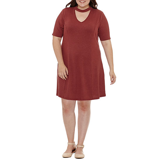 Arizona Short Sleeve Fit Flare Dress Juniors Plus Jcpenney