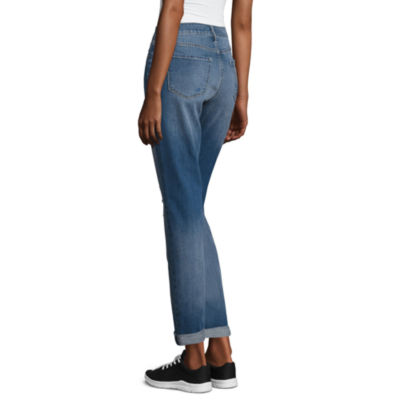Arizona Boyfriend Fit Destructed Jeans-Juniors