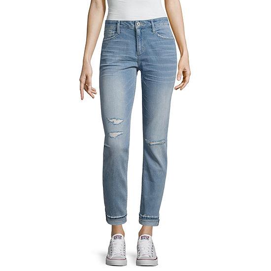 Arizona Boyfriend Fit Destructed Jeans Juniors