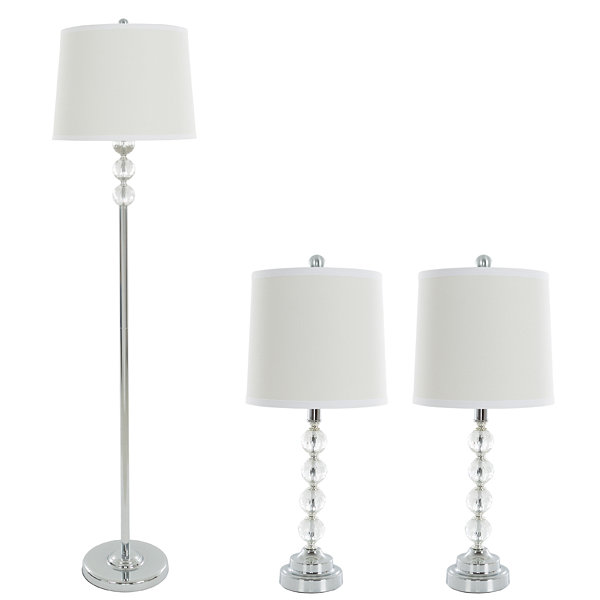 Lavish Home Faceted Crystal 3-pc. Lamp Set