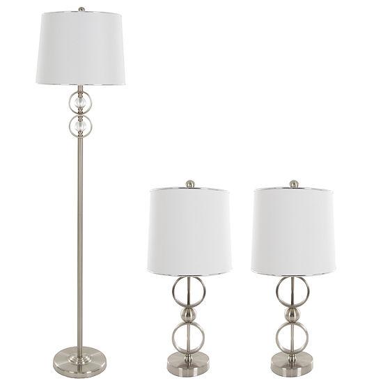 Lavish Home Modern Steel 3-pc. Lamp Set