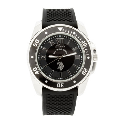 U.S. Polo Assn.® Mens Black Silicone Strap Sport Watch