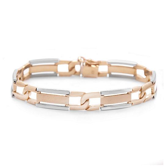 Mens 10k Two Tone Gold Link Bracelet