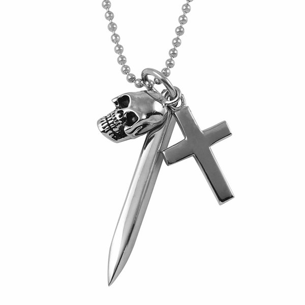 Mens Stainless Steel Cross, Dagger and Skull Pendant Necklace