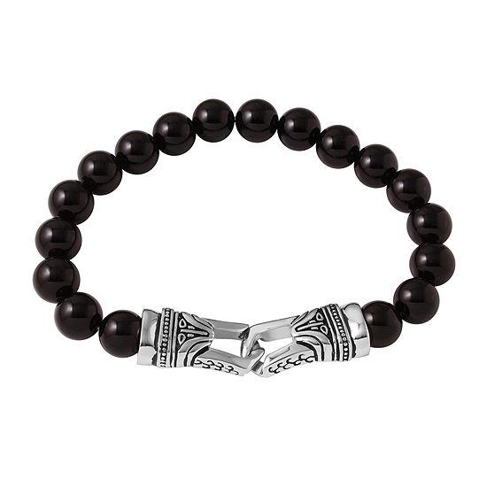 Mens Black Agate Bead and Stainless Steel Bracelet