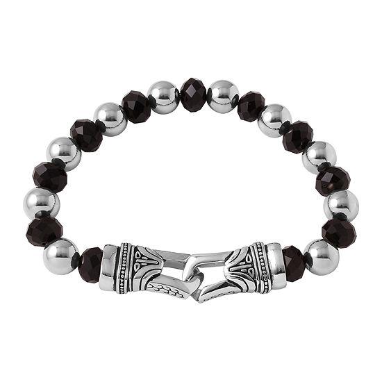 Mens Crystal and Stainless Steel Bead Bracelet