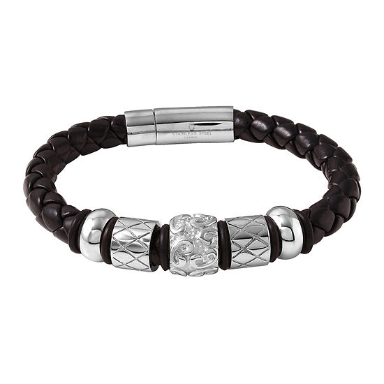 Mens Stainless Steel and Black Leather Bracelet
