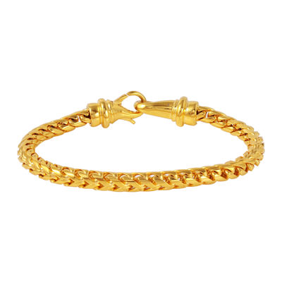 Mens Yellow Ion-Plated Stainless Steel Bracelet