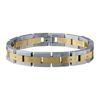 Mens Two-Tone Stainless Steel Bracelet