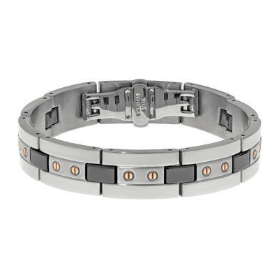 Mens Stainless Steel and Black Ceramic Bracelet