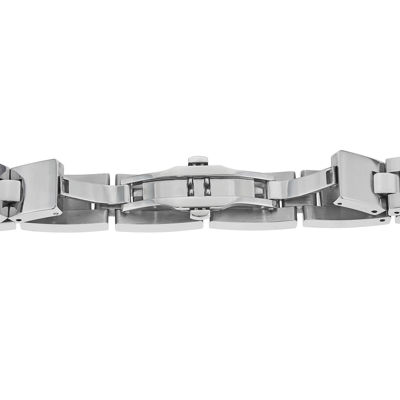 Mens Stainless Steel and Black Ion Link Bracelet