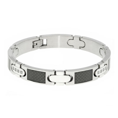 Mens 1/5 CT. T.W. Diamond Carbon Fiber Inlay Stainless Steel Bracelet