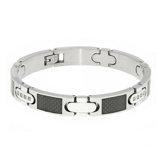 Mens 1/5 CT. T.W. Diamond Carbon Fiber Inlay Stainless Steel Bracelet