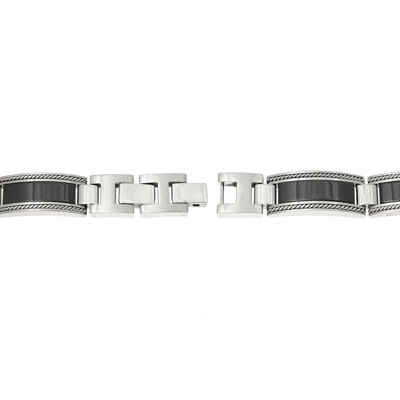 Mens Stainless Steel and Ceramic Link Bracelet