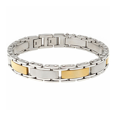 Mens Stainless Steel and Gold Ion Plated Link Bracelet