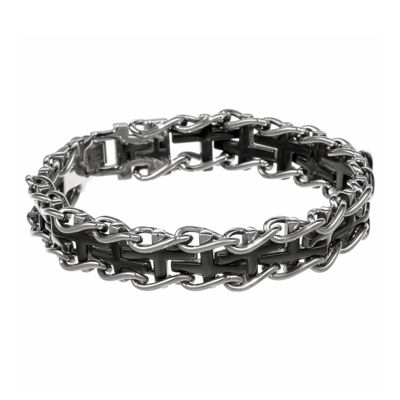 Mens Stainless Steel and Black Ion Plated Cross Link Bracelet