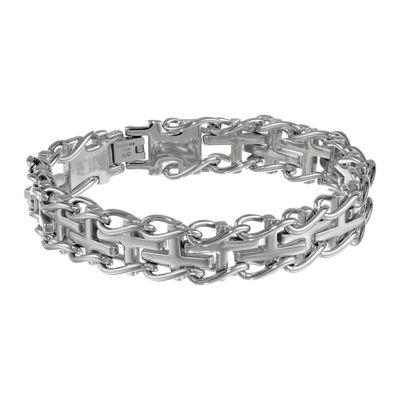 Mens Stainless Cross Link Bracelet
