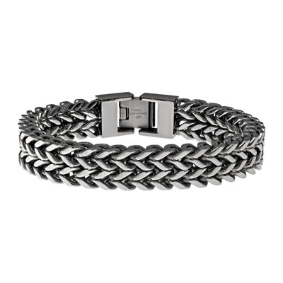 Mens Antique Finish Stainless Steel Wheat Bracelet