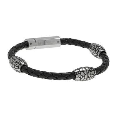 Mens Braided Black Leather Stainless Steel Bracelet
