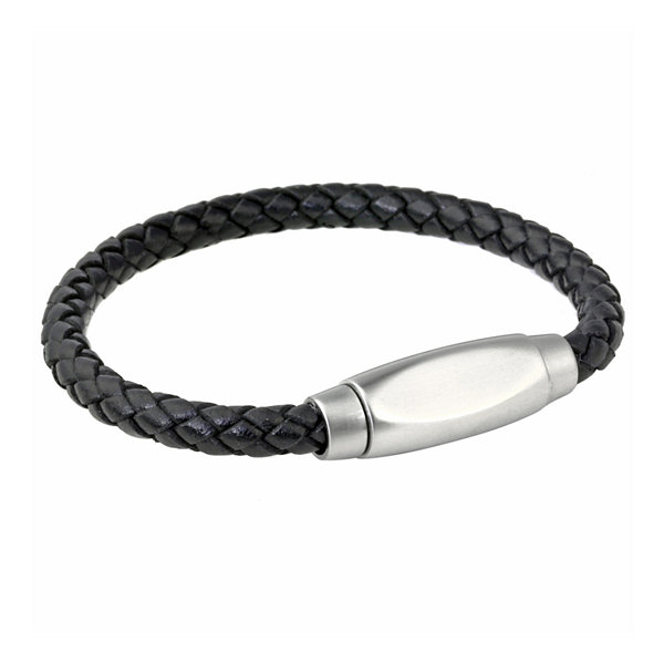 Mens Braided Black Leather Stainless Steel Bracelet