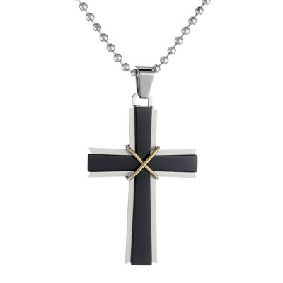 Mens Stainless Steel & Black IP Cross Pendant Necklace