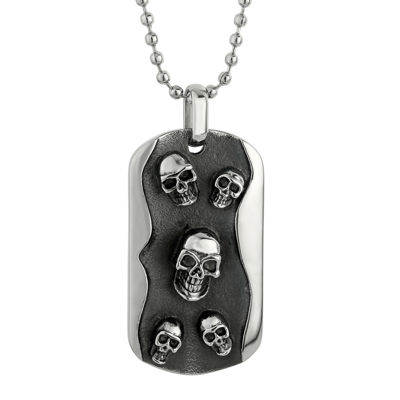 Mens Two-Tone Stainless Steel Skull Dog Tag Pendant Necklace