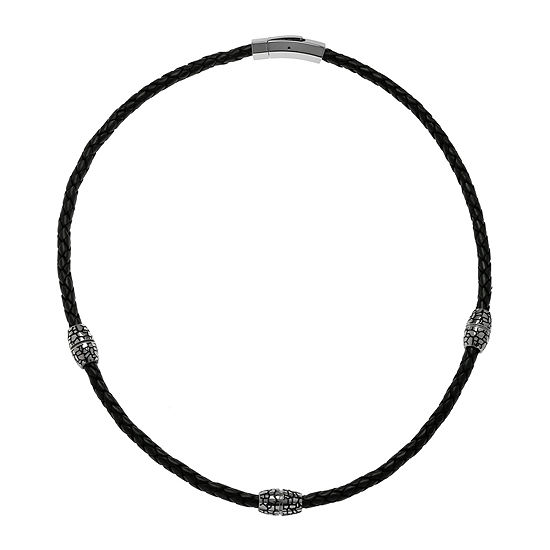 Mens Braided Black Leather Stainless Steel Necklace