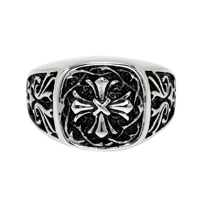 Mens Two-Tone Stainless Steel Cross Ring