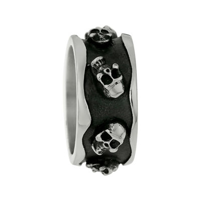 Mens Two-Tone Stainless Steel Skull Ring