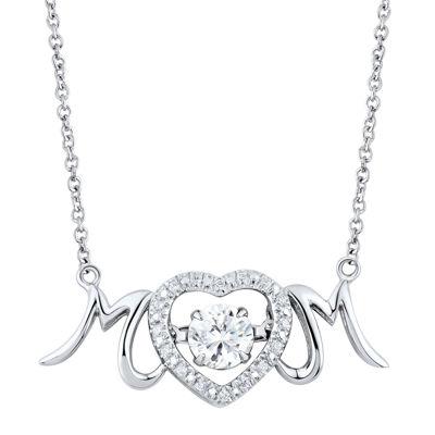 DiamonArt® Cubic Zirconia Sterling Silver Mom Heart Necklace