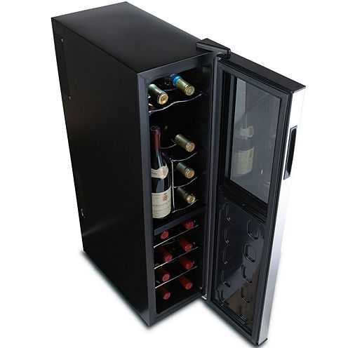 Wine Enthusiast® Silent Slimline 18-Bottle Dual-Zone Wine Cooler with Upright Bottle Storage