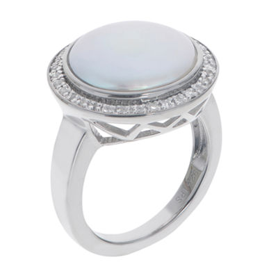 Cultured Freshwater Coin Pearl And Genuine White Topaz Sterling Silver Ring