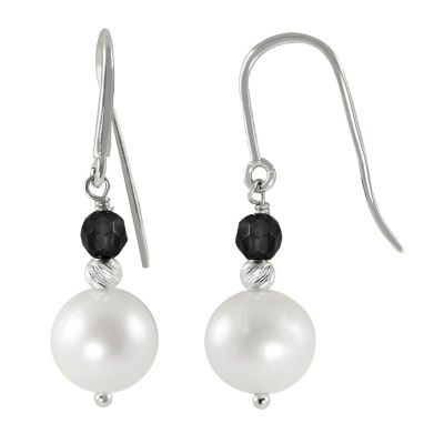 8-9Mm Cultured Freshwater Pearl And Dyed Onyx Sterling Silver Earrings