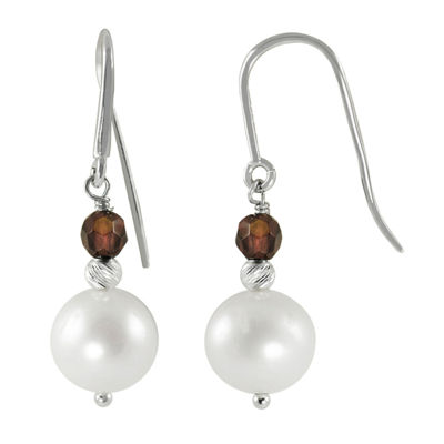 8-9Mm Cultured Freshwater Pearl And Genuine Garnet Sterling Silver Earrings