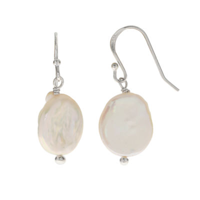 Cultured Freshwater Coin Pearl Sterling Silver Earrings