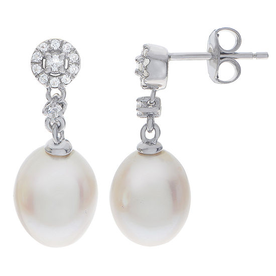 8.5-9Mm Cultured Freshwater Pearl And Genuine White Topaz Sterling Silver Earrings