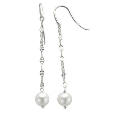 7-8Mm Cultured Freshwater Pearl Sterling Silver Earrings