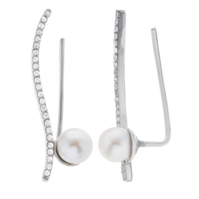 5.5-6Mm Cultured Freshwater Pearl And Genuine White Topsz Sterling Silver Climber Earrings