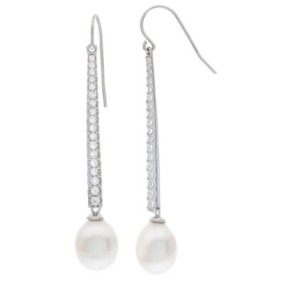 9-10Mm Cultured Freshwater Pearl And Genuine White Topaz Sterling Silver Earrings