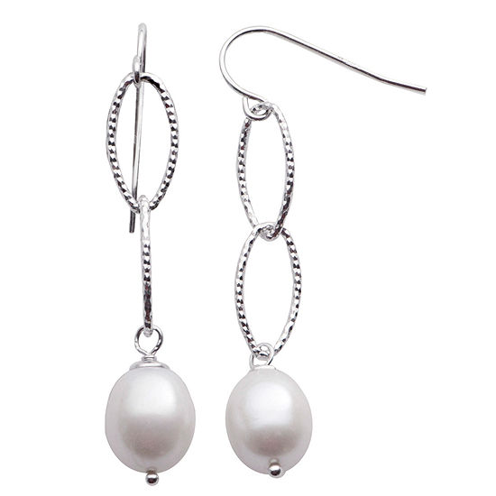 8.5-9Mm Cultured Freshwater Pearl Sterling Silver Earrings