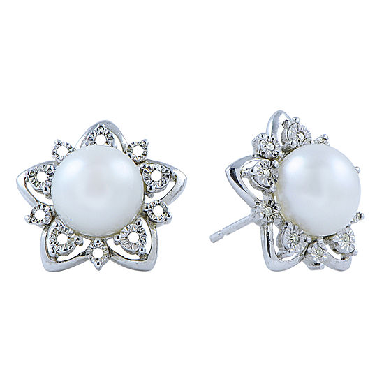 8-9Mm Cultured Freshwater Button Pearl And Diamond Accent Sterling Silver Earrings