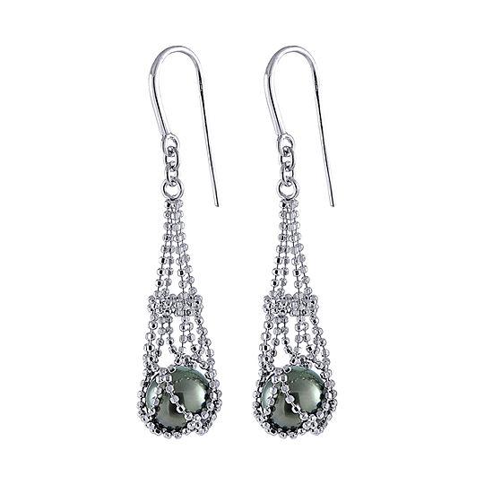 8-9Mm Genuine Tahitian Pearl Sterling Silver Earrings